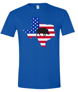 Short Sleeve T-Shirt Texas Royal Wild Hog Vibrant Design High Quality Tight Knit Ring Spun Low Maintenance Cotton Printed With The Newest Available Color Transfer Technology