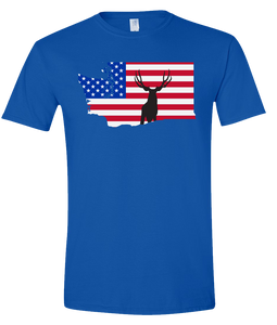 Short Sleeve T-Shirt Washington Royal Mule Deer Vibrant Design High Quality Tight Knit Ring Spun Low Maintenance Cotton Printed With The Newest Available Color Transfer Technology