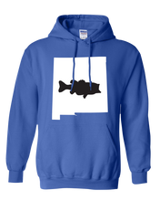 Load image into Gallery viewer, Pullover Hooded Sweatshirt New Mexico Royal Large Mouth Bass Vibrant Design High Quality Tight Knit Ring Spun Low Maintenance Cotton Printed With The Newest Available Color Transfer Technology