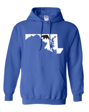 Load image into Gallery viewer, Pullover Hooded Sweatshirt Maryland Royal Black Bear Vibrant Design High Quality Tight Knit Ring Spun Low Maintenance Cotton Printed With The Newest Available Color Transfer Technology