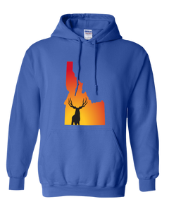 Pullover Hooded Sweatshirt Idaho Royal Mule Deer Vibrant Design High Quality Tight Knit Ring Spun Low Maintenance Cotton Printed With The Newest Available Color Transfer Technology