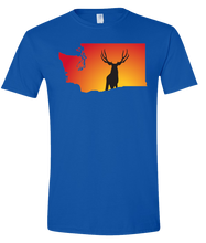 Load image into Gallery viewer, Short Sleeve T-Shirt Washington Royal Mule Deer Vibrant Design High Quality Tight Knit Ring Spun Low Maintenance Cotton Printed With The Newest Available Color Transfer Technology