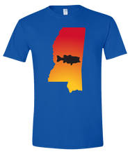 Load image into Gallery viewer, Short Sleeve T-Shirt Mississippi Royal Large Mouth Bass Vibrant Design High Quality Tight Knit Ring Spun Low Maintenance Cotton Printed With The Newest Available Color Transfer Technology