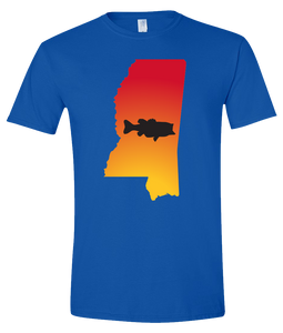 Short Sleeve T-Shirt Mississippi Royal Large Mouth Bass Vibrant Design High Quality Tight Knit Ring Spun Low Maintenance Cotton Printed With The Newest Available Color Transfer Technology