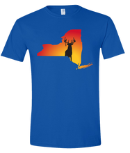 Load image into Gallery viewer, Short Sleeve T-Shirt New York Royal Whitetail Deer Vibrant Design High Quality Tight Knit Ring Spun Low Maintenance Cotton Printed With The Newest Available Color Transfer Technology