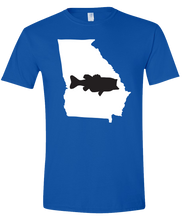 Load image into Gallery viewer, Short Sleeve T-Shirt Georgia Royal Large Mouth Bass Vibrant Design High Quality Tight Knit Ring Spun Low Maintenance Cotton Printed With The Newest Available Color Transfer Technology