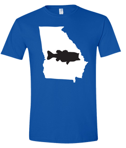 Short Sleeve T-Shirt Georgia Royal Large Mouth Bass Vibrant Design High Quality Tight Knit Ring Spun Low Maintenance Cotton Printed With The Newest Available Color Transfer Technology