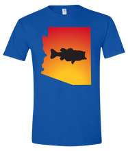 Load image into Gallery viewer, Short Sleeve T-Shirt Arizona Royal Large Mouth Bass Vibrant Design High Quality Tight Knit Ring Spun Low Maintenance Cotton Printed With The Newest Available Color Transfer Technology