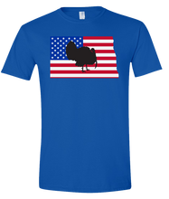 Load image into Gallery viewer, Short Sleeve T-Shirt North Dakota Royal Turkey Vibrant Design High Quality Tight Knit Ring Spun Low Maintenance Cotton Printed With The Newest Available Color Transfer Technology