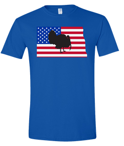Short Sleeve T-Shirt North Dakota Royal Turkey Vibrant Design High Quality Tight Knit Ring Spun Low Maintenance Cotton Printed With The Newest Available Color Transfer Technology