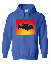 Load image into Gallery viewer, Pullover Hooded Sweatshirt Wyoming Royal Large Mouth Bass Vibrant Design High Quality Tight Knit Ring Spun Low Maintenance Cotton Printed With The Newest Available Color Transfer Technology