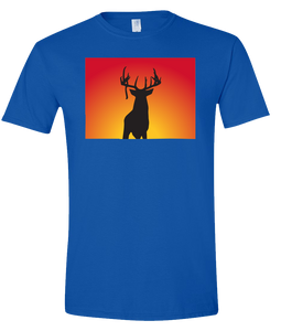 Short Sleeve T-Shirt Colorado Royal Whitetail Deer Vibrant Design High Quality Tight Knit Ring Spun Low Maintenance Cotton Printed With The Newest Available Color Transfer Technology