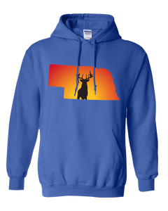 Pullover Hooded Sweatshirt Nebraska Royal Whitetail Deer Vibrant Design High Quality Tight Knit Ring Spun Low Maintenance Cotton Printed With The Newest Available Color Transfer Technology