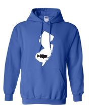 Load image into Gallery viewer, Pullover Hooded Sweatshirt New Jersey Royal Large Mouth Bass Vibrant Design High Quality Tight Knit Ring Spun Low Maintenance Cotton Printed With The Newest Available Color Transfer Technology