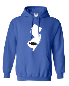 Pullover Hooded Sweatshirt New Jersey Royal Large Mouth Bass Vibrant Design High Quality Tight Knit Ring Spun Low Maintenance Cotton Printed With The Newest Available Color Transfer Technology