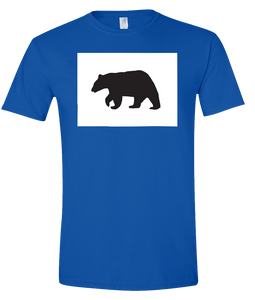 Short Sleeve T-Shirt Colorado Royal Black Bear Vibrant Design High Quality Tight Knit Ring Spun Low Maintenance Cotton Printed With The Newest Available Color Transfer Technology