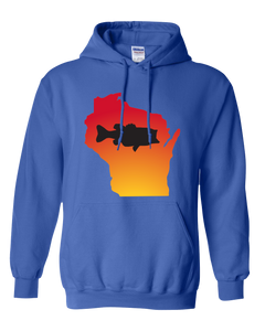 Pullover Hooded Sweatshirt Wisconsin Royal Large Mouth Bass Vibrant Design High Quality Tight Knit Ring Spun Low Maintenance Cotton Printed With The Newest Available Color Transfer Technology