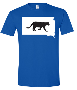 Short Sleeve T-Shirt South Dakota Royal Mountain Lion Vibrant Design High Quality Tight Knit Ring Spun Low Maintenance Cotton Printed With The Newest Available Color Transfer Technology