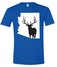 Load image into Gallery viewer, Short Sleeve T-Shirt Arizona Royal Elk Vibrant Design High Quality Tight Knit Ring Spun Low Maintenance Cotton Printed With The Newest Available Color Transfer Technology