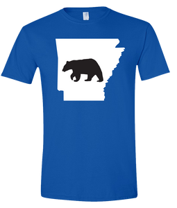 Short Sleeve T-Shirt Arkansas Royal Black Bear Vibrant Design High Quality Tight Knit Ring Spun Low Maintenance Cotton Printed With The Newest Available Color Transfer Technology