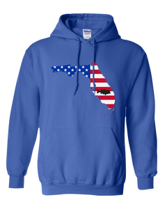 Pullover Hooded Sweatshirt Florida Royal Large Mouth Bass Vibrant Design High Quality Tight Knit Ring Spun Low Maintenance Cotton Printed With The Newest Available Color Transfer Technology