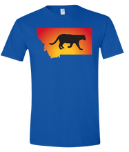 Load image into Gallery viewer, Short Sleeve T-Shirt Montana Royal Mountain Lion Vibrant Design High Quality Tight Knit Ring Spun Low Maintenance Cotton Printed With The Newest Available Color Transfer Technology