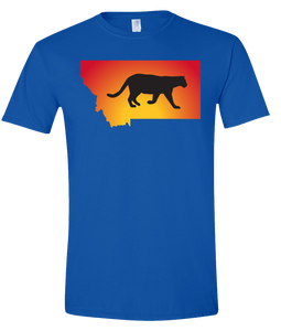 Short Sleeve T-Shirt Montana Royal Mountain Lion Vibrant Design High Quality Tight Knit Ring Spun Low Maintenance Cotton Printed With The Newest Available Color Transfer Technology