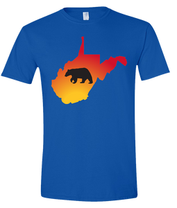 Short Sleeve T-Shirt West Virginia Royal Black Bear Vibrant Design High Quality Tight Knit Ring Spun Low Maintenance Cotton Printed With The Newest Available Color Transfer Technology