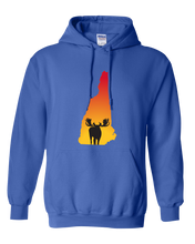 Load image into Gallery viewer, Pullover Hooded Sweatshirt New Hampshire Royal Moose Vibrant Design High Quality Tight Knit Ring Spun Low Maintenance Cotton Printed With The Newest Available Color Transfer Technology