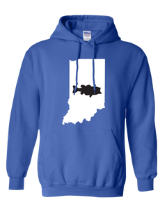 Pullover Hooded Sweatshirt Indiana Royal Large Mouth Bass Vibrant Design High Quality Tight Knit Ring Spun Low Maintenance Cotton Printed With The Newest Available Color Transfer Technology