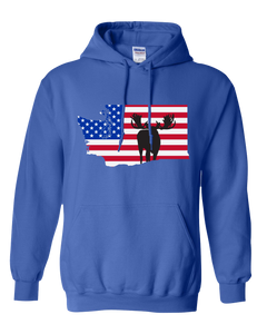 Pullover Hooded Sweatshirt Washington Royal Moose Vibrant Design High Quality Tight Knit Ring Spun Low Maintenance Cotton Printed With The Newest Available Color Transfer Technology