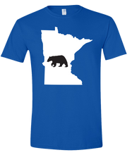 Load image into Gallery viewer, Short Sleeve T-Shirt Minnesota Royal Black Bear Vibrant Design High Quality Tight Knit Ring Spun Low Maintenance Cotton Printed With The Newest Available Color Transfer Technology