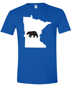 Short Sleeve T-Shirt Minnesota Royal Black Bear Vibrant Design High Quality Tight Knit Ring Spun Low Maintenance Cotton Printed With The Newest Available Color Transfer Technology