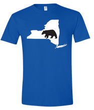 Load image into Gallery viewer, Short Sleeve T-Shirt New York Royal Black Bear Vibrant Design High Quality Tight Knit Ring Spun Low Maintenance Cotton Printed With The Newest Available Color Transfer Technology