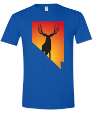 Load image into Gallery viewer, Short Sleeve T-Shirt Nevada Royal Mule Deer Vibrant Design High Quality Tight Knit Ring Spun Low Maintenance Cotton Printed With The Newest Available Color Transfer Technology