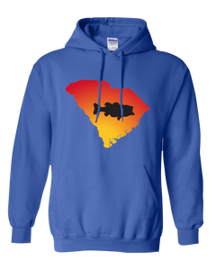 Pullover Hooded Sweatshirt South Carolina Royal Large Mouth Bass Vibrant Design High Quality Tight Knit Ring Spun Low Maintenance Cotton Printed With The Newest Available Color Transfer Technology