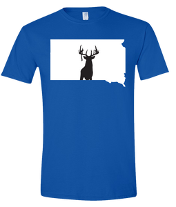 Short Sleeve T-Shirt South Dakota Royal Whitetail Deer Vibrant Design High Quality Tight Knit Ring Spun Low Maintenance Cotton Printed With The Newest Available Color Transfer Technology