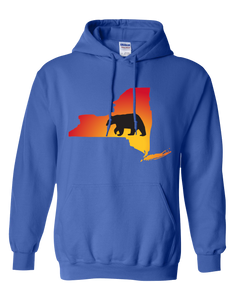 Pullover Hooded Sweatshirt New York Royal Black Bear Vibrant Design High Quality Tight Knit Ring Spun Low Maintenance Cotton Printed With The Newest Available Color Transfer Technology