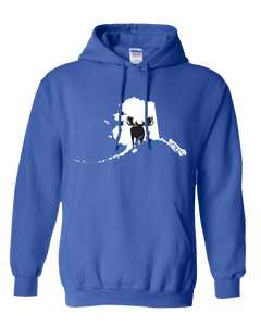Pullover Hooded Sweatshirt Alaska Royal Moose Vibrant Design High Quality Tight Knit Ring Spun Low Maintenance Cotton Printed With The Newest Available Color Transfer Technology