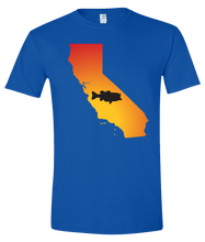 Load image into Gallery viewer, Short Sleeve T-Shirt California Royal Large Mouth Bass Vibrant Design High Quality Tight Knit Ring Spun Low Maintenance Cotton Printed With The Newest Available Color Transfer Technology