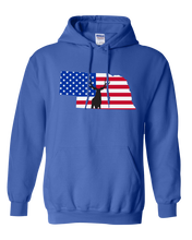 Load image into Gallery viewer, Pullover Hooded Sweatshirt Nebraska Royal Mule Deer Vibrant Design High Quality Tight Knit Ring Spun Low Maintenance Cotton Printed With The Newest Available Color Transfer Technology