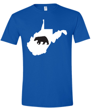 Load image into Gallery viewer, Short Sleeve T-Shirt West Virginia Royal Black Bear Vibrant Design High Quality Tight Knit Ring Spun Low Maintenance Cotton Printed With The Newest Available Color Transfer Technology