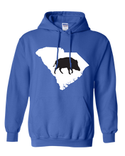 Load image into Gallery viewer, Pullover Hooded Sweatshirt South Carolina Royal Wild Hog Vibrant Design High Quality Tight Knit Ring Spun Low Maintenance Cotton Printed With The Newest Available Color Transfer Technology