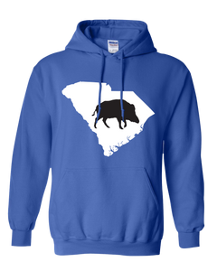 Pullover Hooded Sweatshirt South Carolina Royal Wild Hog Vibrant Design High Quality Tight Knit Ring Spun Low Maintenance Cotton Printed With The Newest Available Color Transfer Technology