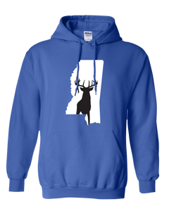 Pullover Hooded Sweatshirt Mississippi Royal Whitetail Deer Vibrant Design High Quality Tight Knit Ring Spun Low Maintenance Cotton Printed With The Newest Available Color Transfer Technology