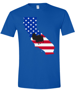Short Sleeve T-Shirt California Royal Turkey Vibrant Design High Quality Tight Knit Ring Spun Low Maintenance Cotton Printed With The Newest Available Color Transfer Technology