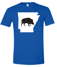 Load image into Gallery viewer, Short Sleeve T-Shirt Arkansas Royal Wild Hog Vibrant Design High Quality Tight Knit Ring Spun Low Maintenance Cotton Printed With The Newest Available Color Transfer Technology