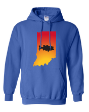 Load image into Gallery viewer, Pullover Hooded Sweatshirt Indiana Royal Large Mouth Bass Vibrant Design High Quality Tight Knit Ring Spun Low Maintenance Cotton Printed With The Newest Available Color Transfer Technology
