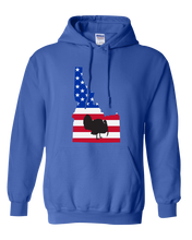 Load image into Gallery viewer, Pullover Hooded Sweatshirt Idaho Royal Turkey Vibrant Design High Quality Tight Knit Ring Spun Low Maintenance Cotton Printed With The Newest Available Color Transfer Technology