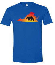 Load image into Gallery viewer, Short Sleeve T-Shirt Virginia Royal Black Bear Vibrant Design High Quality Tight Knit Ring Spun Low Maintenance Cotton Printed With The Newest Available Color Transfer Technology